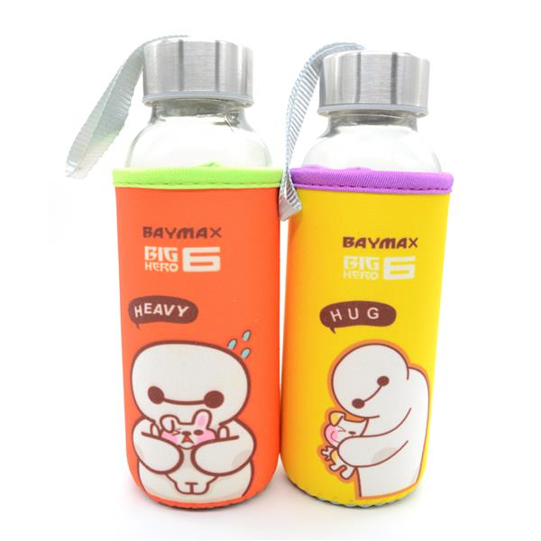 Kids Water Glass Bottle With Cartoon Pouch 300ml - Baymax (Random Colo