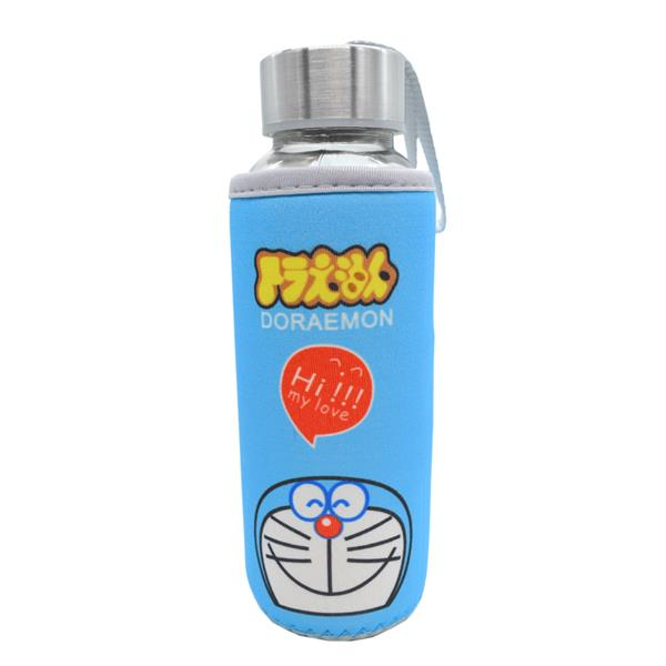 Kids Water Glass Bottle With Cartoon Pouch 300ml - Doraemon