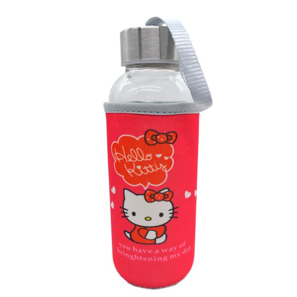 Kids Water Glass Bottle With Cartoon Pouch 300ml - Hello Kitty