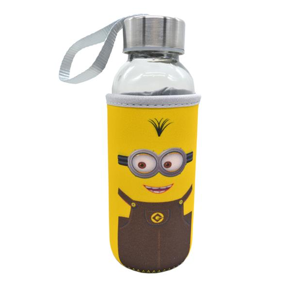 Kids Water Glass Bottle With Cartoon Pouch 300ml - Minion