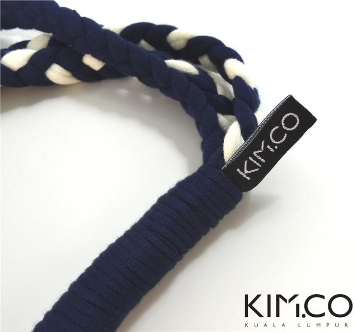 KIM.CO Scarf Necklace (BRAIDS - 3 Tier) in Dark Blue & White