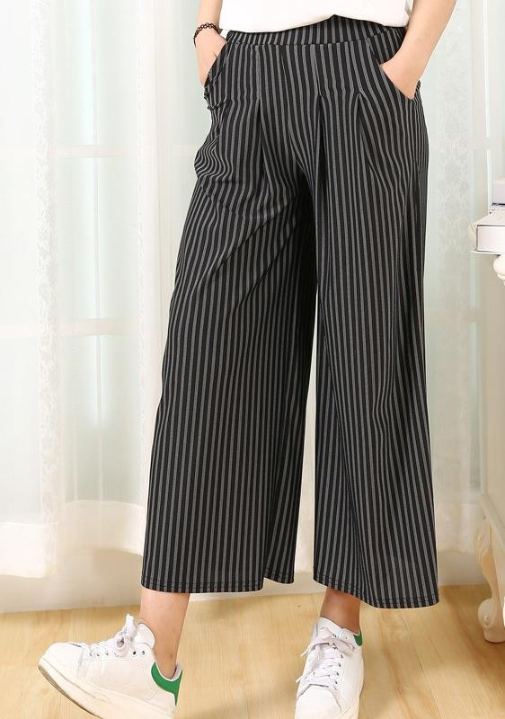 King Size High Waist Show-slim Stripe Pallazo Pants (02)