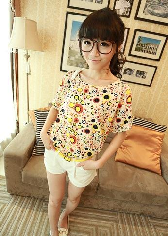 King Size Loose Short-sleeve Chiffon Blouse (Yellow Circle)
