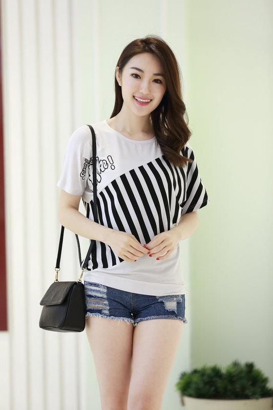 King Size Loose Stripe Show-slim Blouse (White)