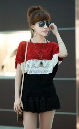 King Size Mix Colour Hollow Knit Blouse (Red)
