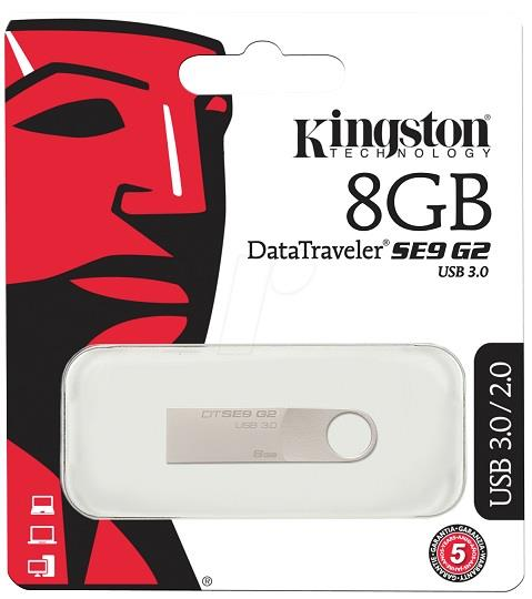 KINGSTON 8GB DATA TRAVELER SE9 G2 USB3.0 FLASH DRIVE (DTSE9G2/8GB)