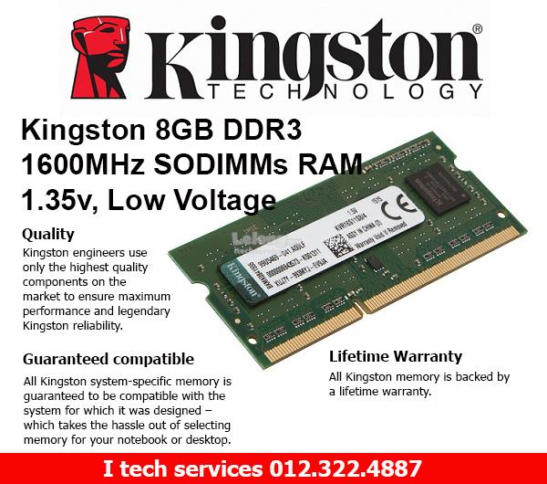 Kingston 8GB DDR3 1600MHz SoDimm Ram 1.35v Low Voltage