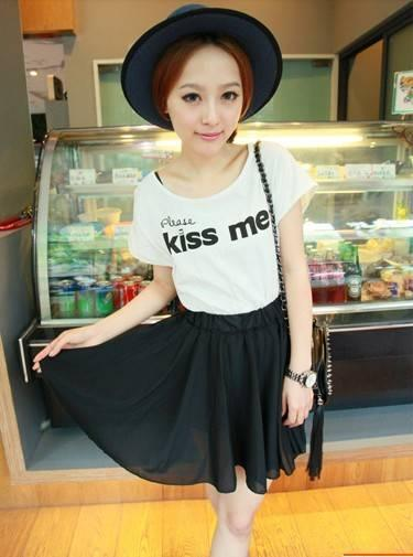 Kiss Me' Chiffon Dress 12844 -Black