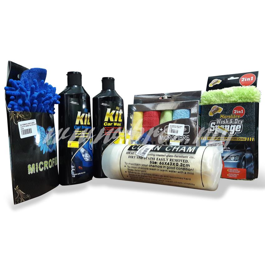 KIT Complete Car Care Kit Car Wax Car Shampoo Microfibre Mitt Cloth