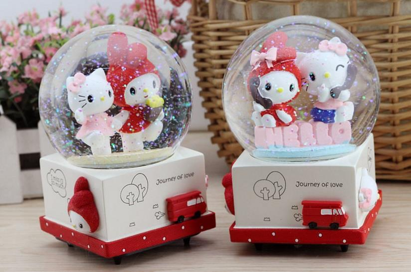 KITTY MUSICAL SNOW GLOBE CRYSTAL BALL (LIGHT)