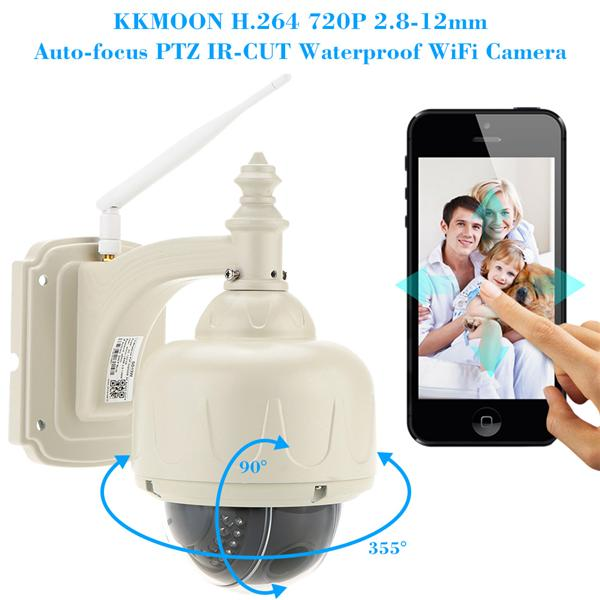 KKMOON H.264 HD 720P 2.8-12mm Auto-focus PTZ Wireless WiFi IP Security
