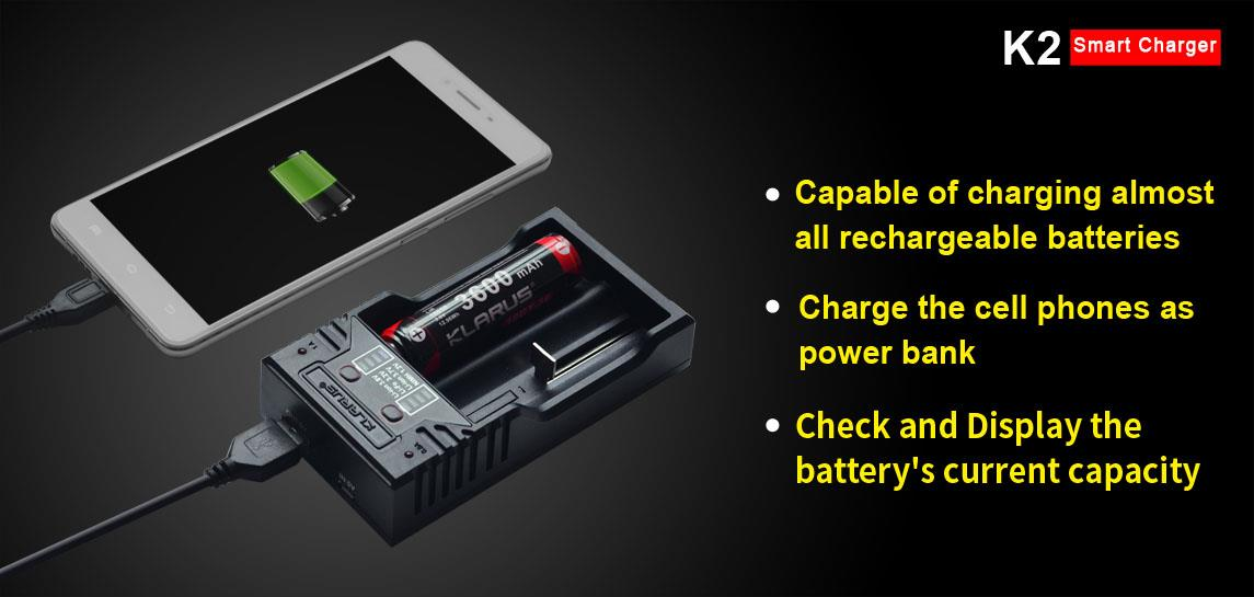 Klarus K2 with USB Output Smart Charger for Battery 14500/16340/18650