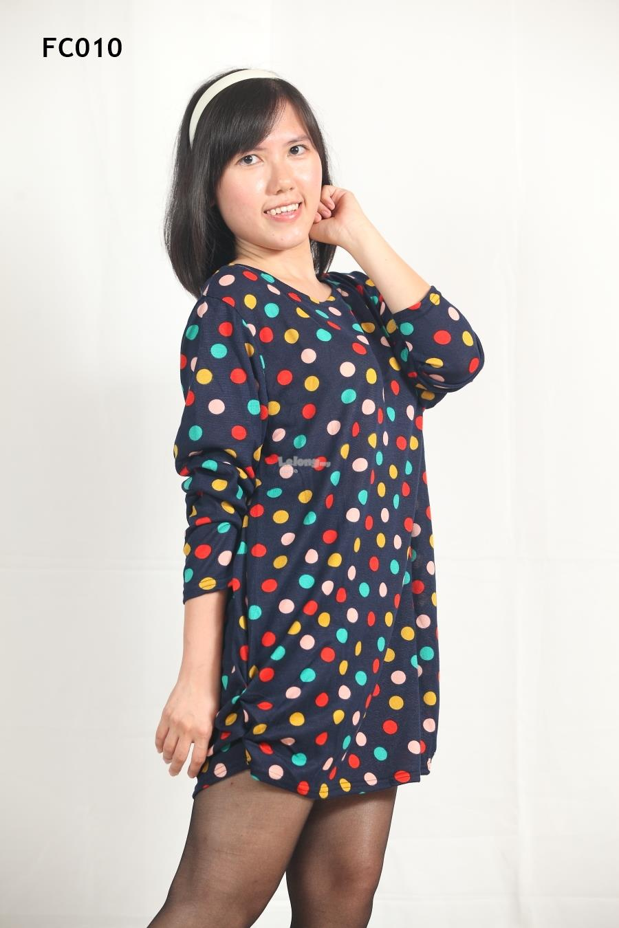 Knitted Colourful Polka Dots Printed Long Sleeves Top- S-3XL