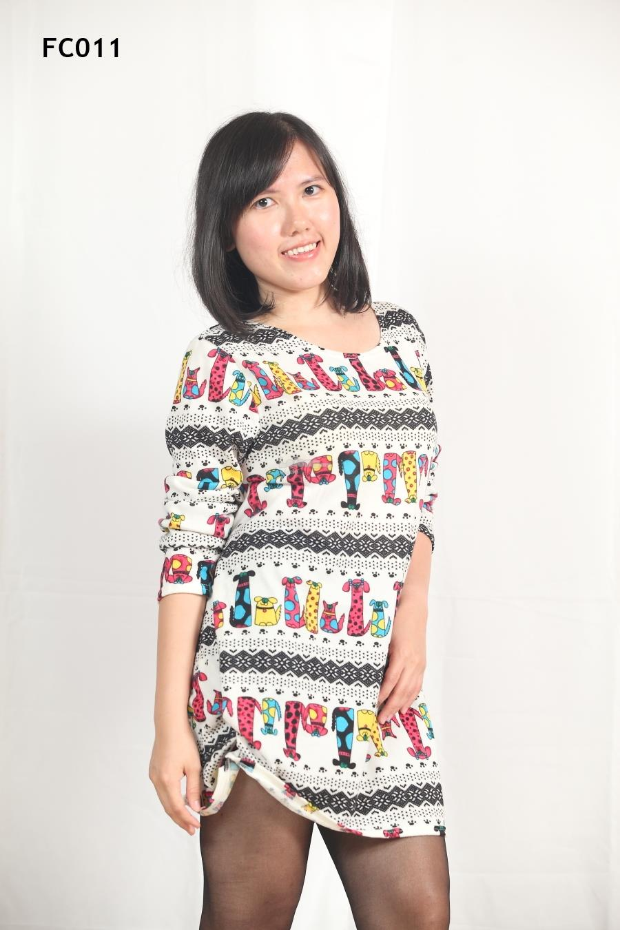 Knitted Cute Animals Printed Long Sleeves Top- S-3XL