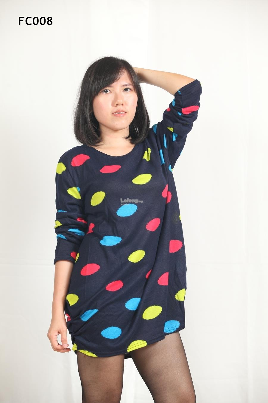 Knitted Retro Style Large Dots Long Sleeves Top- S-3XL
