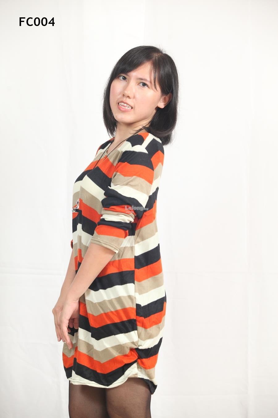 Knitted Simple Shape Stripe Long Sleeves Top- S-3XL