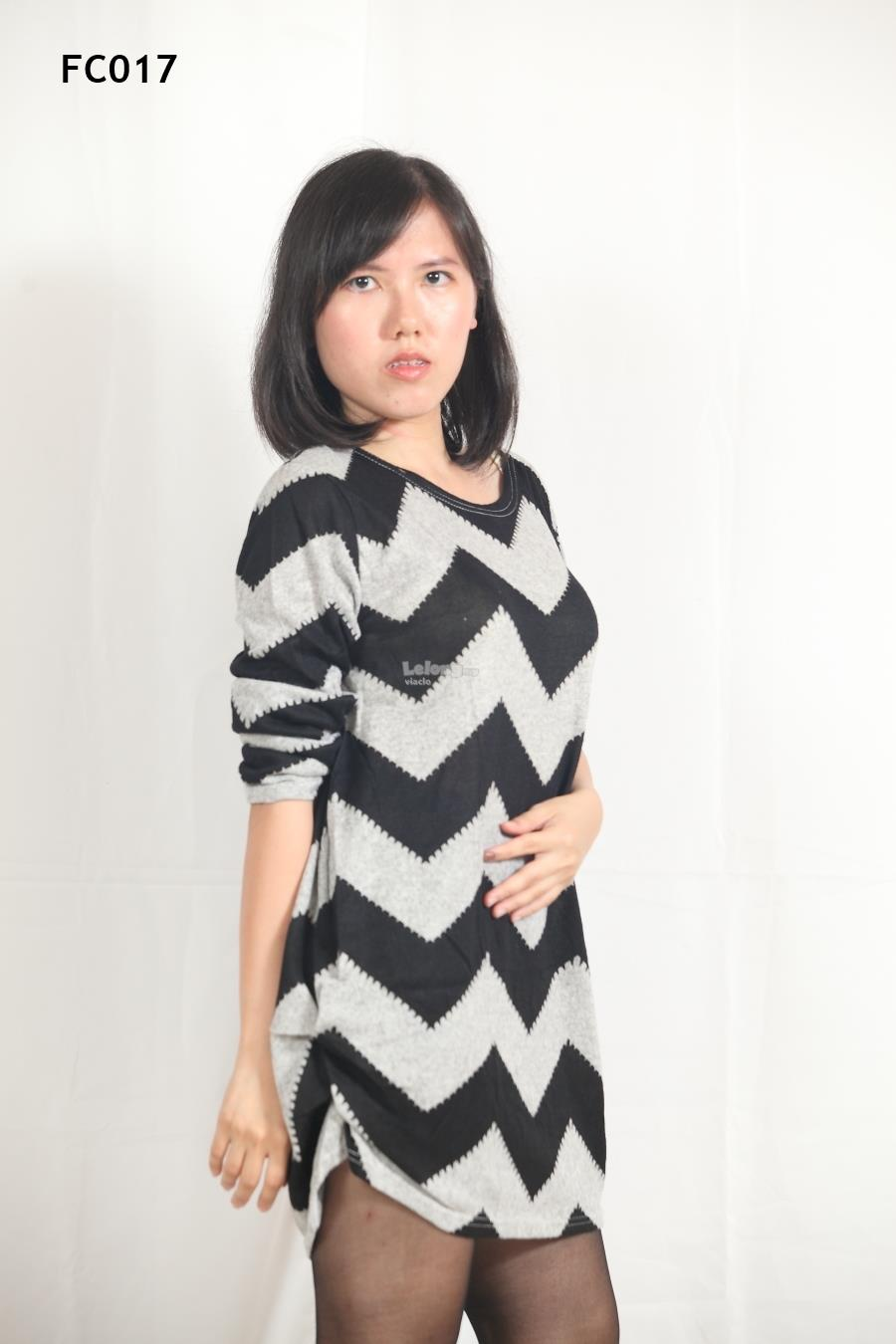 Knitted Zigzag Casual  Long Sleeves Top- S-3XL