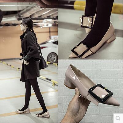 Korea new arrival square buckle pointed enamel leather sandal