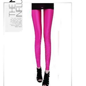 Korea Fashion~Elastic Fluorescence Pants (Rose Red)