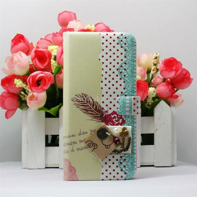 Korea Happymori Book Cover Case iPhone 5 iphone5 (Feather)
