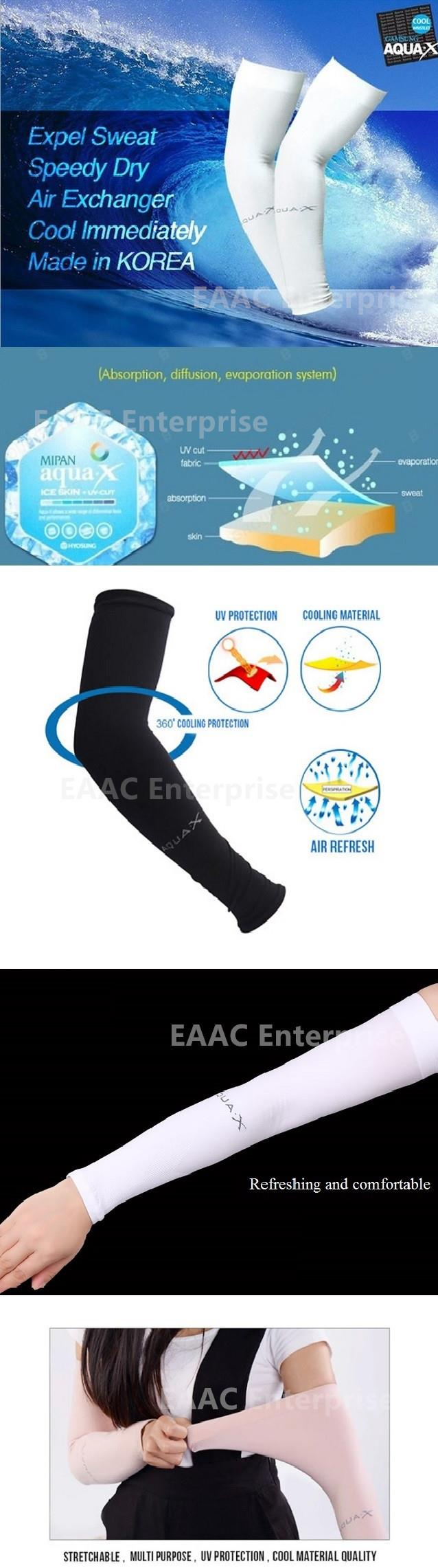 Korea New Ice Silk Aqua X Cooling Sock UV Protection Arm Sleeves - W