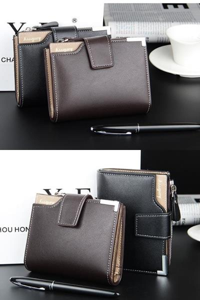 Korea Korean Men Wallet Purse Zipper Zip Coin Brown 1