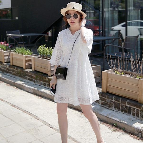 Korea Lace Long Sleeve Design Ladies White Dress