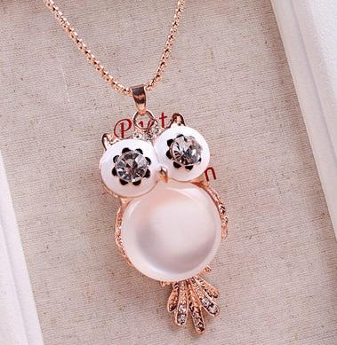 Korea Owl Design Ladies Long Necklace