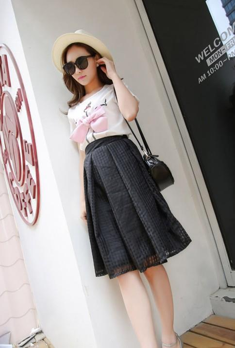 Korea Style Organze Show-slim A-shape Skirt (Black)