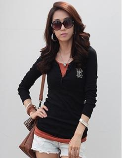 Korea Style V Long-sleeve Blouse (Black)