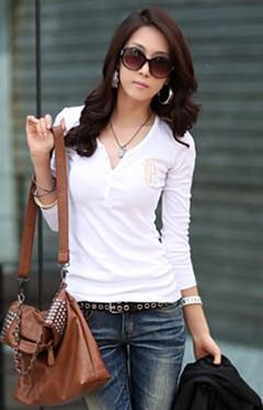 Korea Style V Long-sleeve Blouse (White)