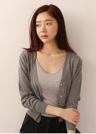 Korea Style V Long-sleeve Short Knit Jacket