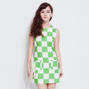 Korea Unique Elegant Boxes Print Green Dress