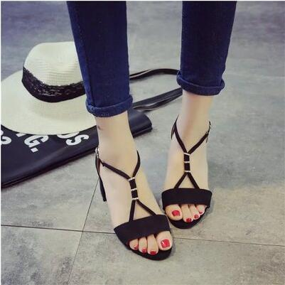 Korea version new arrival suede low thick heel show-toe sandal