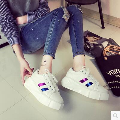 Korea version casual thick soles flat little white shoe