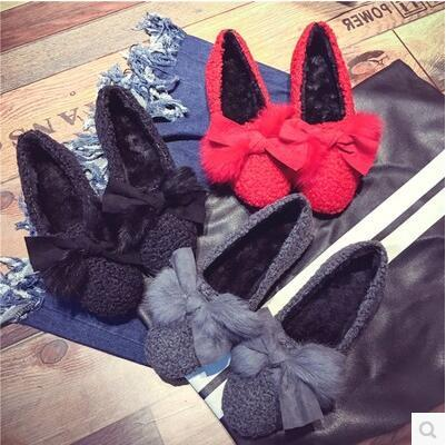 Korea version comfort fur rosette flat bean sandal