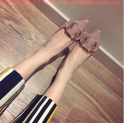 Korea version elegant OL pointed high heel square buckle sandal