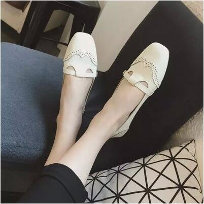 Korea version hollow square head casual flat sandal