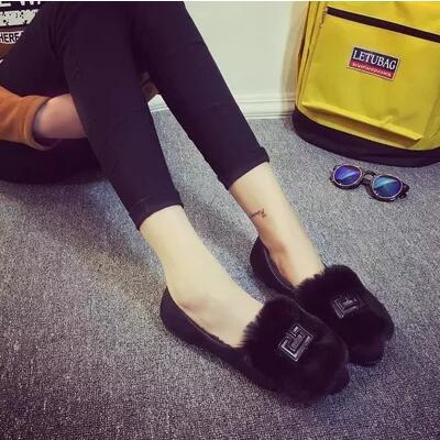 Korea version pointed flat bunny fur design casual sandal