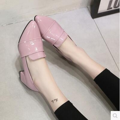 Korea version pointed high thick heel leather work/casual sandal