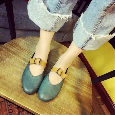 Korea version retro soft leather flat sandal