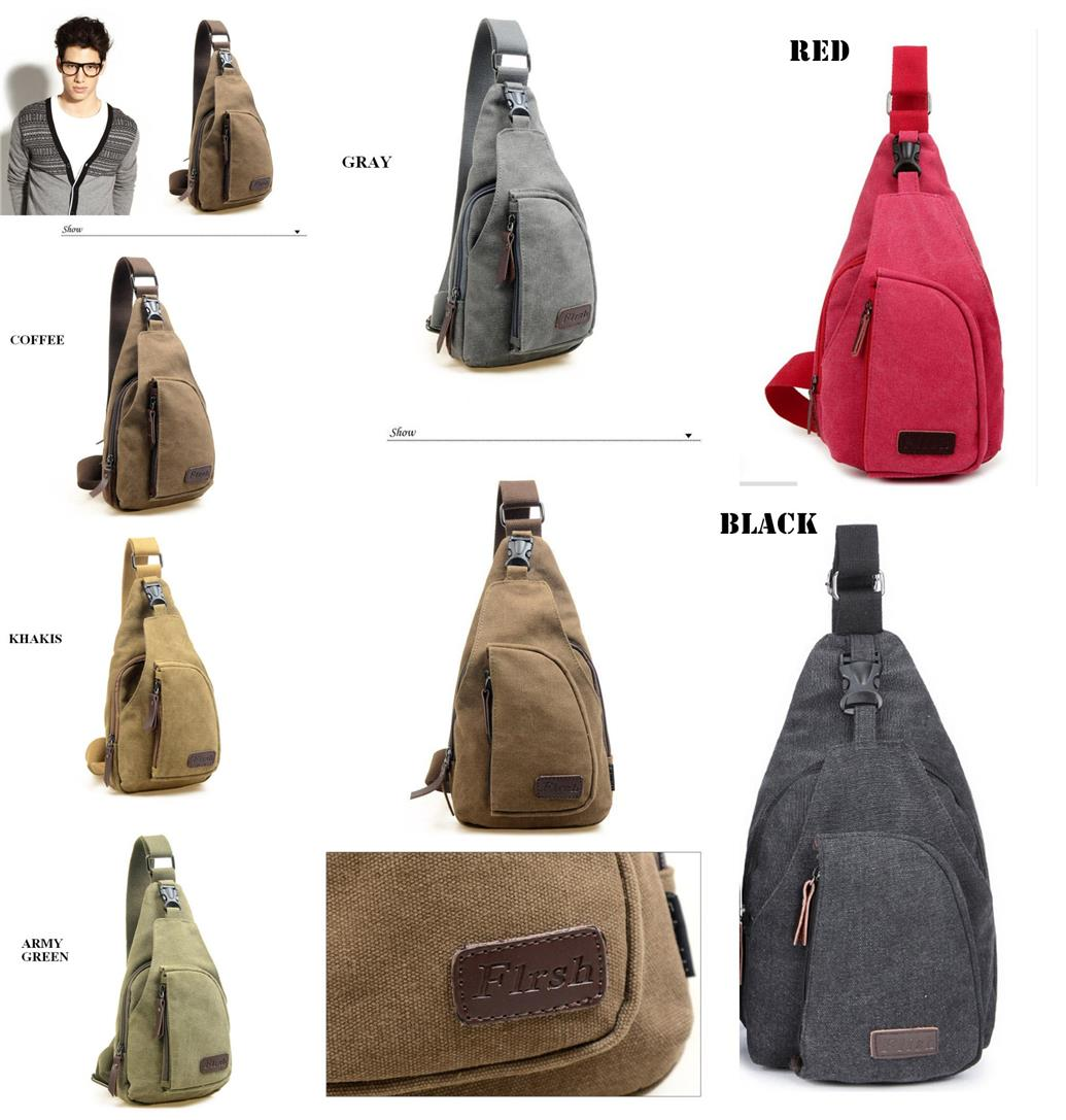 Korean Casual Men's Chest Canvas Sports Bag Multifunctional Outdoor Sm
