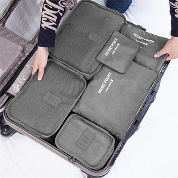 Korean Convenient Travel Packing Cubes Organizer Bags (set of 6)-Gray