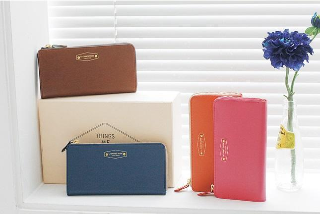Korean Crown Iconic Woman Long Wallet Purse Phone Card Leather Zip