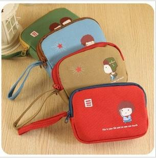 Korean Cute Double Zip Canvas Purse