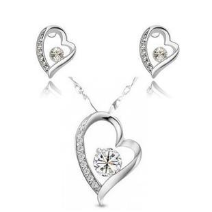 Korean Diamond Love Forever Earings + Necklace Set