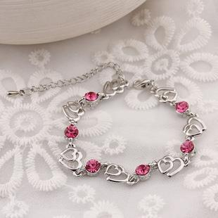 Korean Double Heart Crystal Bracelet