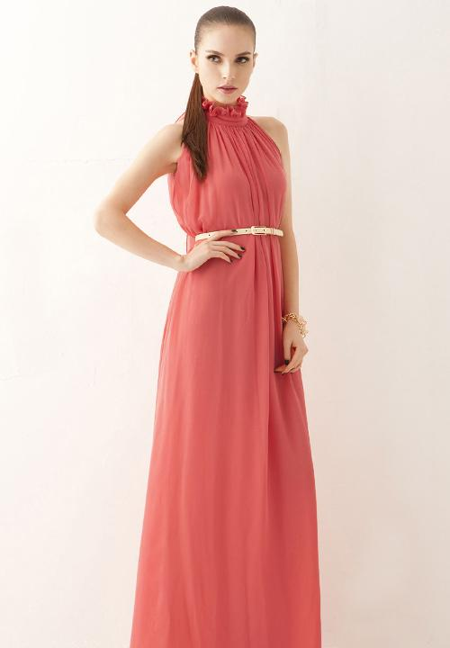 Korean Elegant Fashion Dress With Belt RED ORANGE