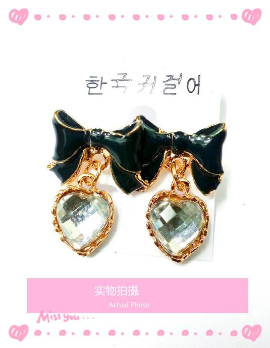 Korean Elegant Ribbon Heart Shape Earrings