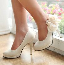 KOREAN FASHION BEADED FLOWERS WHITE WEDDING BRIDAL SHOES(SIZE:34--39)